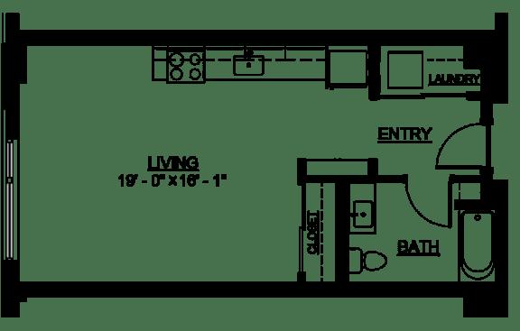 Floor Plan  Riverwest Floor Plan - A3 - 507 sqft
