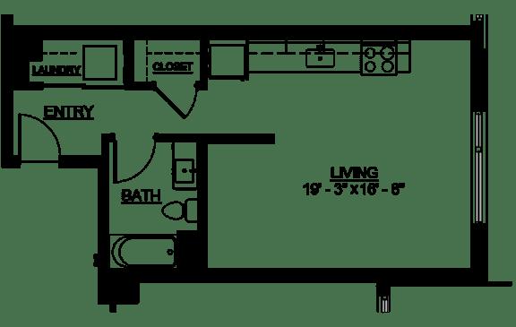 Floor Plan  Riverwest Floor Plan - A4 - 494 sqft