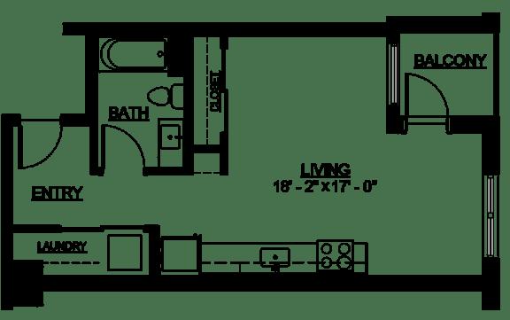 Floor Plan  Riverwest Floor Plan - A5 - 482 sqft