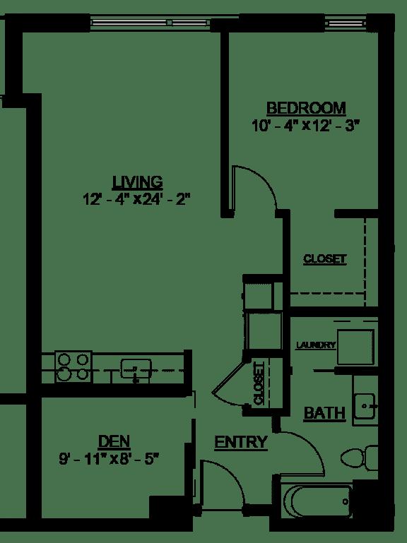 Floor Plan  Riverwest Floor Plan - B1B - 766 sqft