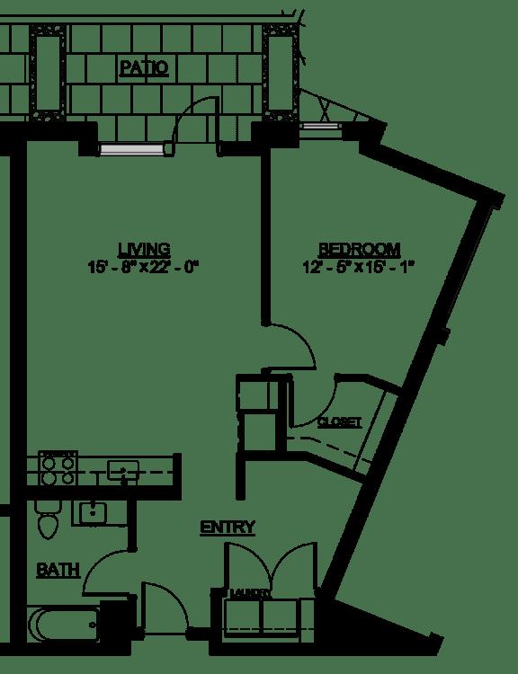 Floor Plan  Riverwest Floor Plan - B2 Type A - 787 sqft