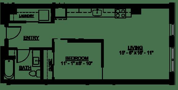 Floor Plan  Riverwest Floor Plan - B3 - 580 sqft