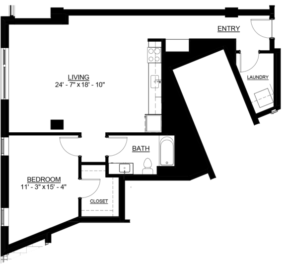 Floor Plan  Riverwest Floor Plan - B5 - 897 sqft