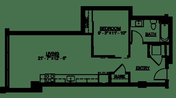 Floor Plan  Riverwest Floor Plan - B6 - 648 sqft