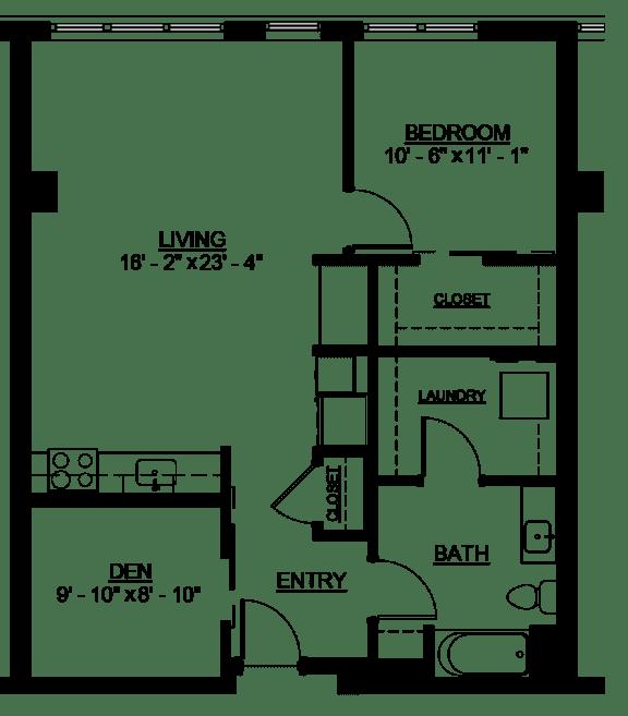 Floor Plan  Riverwest Floor Plan - C2 - 871 sqft