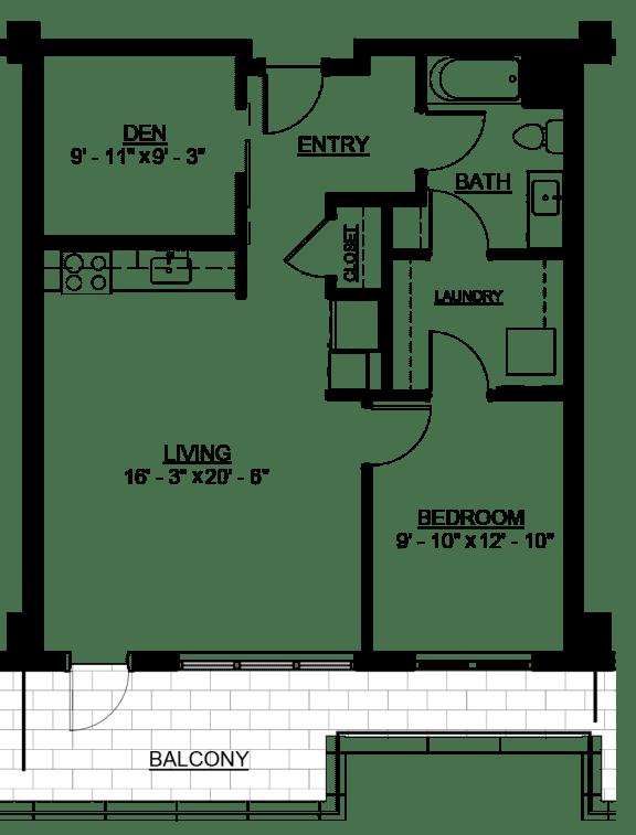 Floor Plan  Riverwest Floor Plan - C3 - 796 sqft