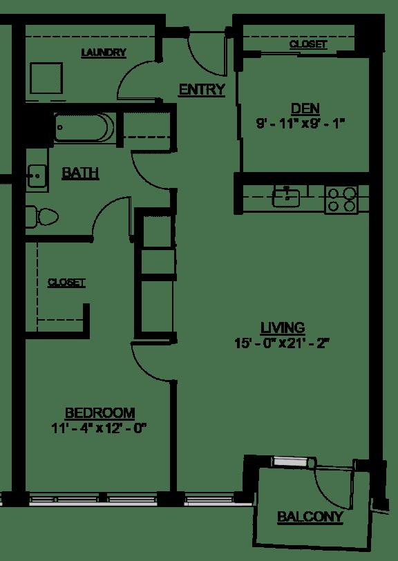 Floor Plan  Riverwest Floor Plan - C6 - 950 sqft