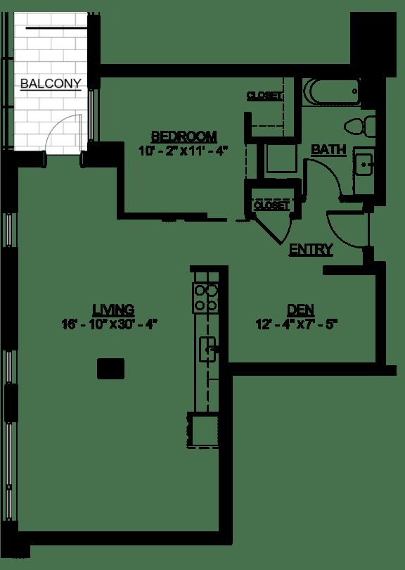 Floor Plan  Riverwest Floor Plan - C8 - 886 sqft