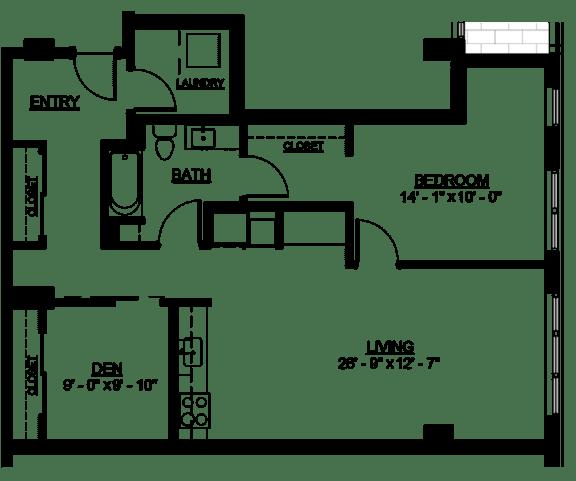 Floor Plan  Riverwest Floor Plan - C9 - 999 sqft