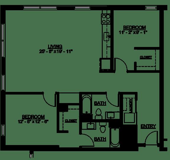 Floor Plan  Riverwest Floor Plan - D1 - 1231 sqft
