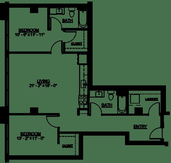Floor Plan  Riverwest Floor Plan - D11 - 1077 sqft
