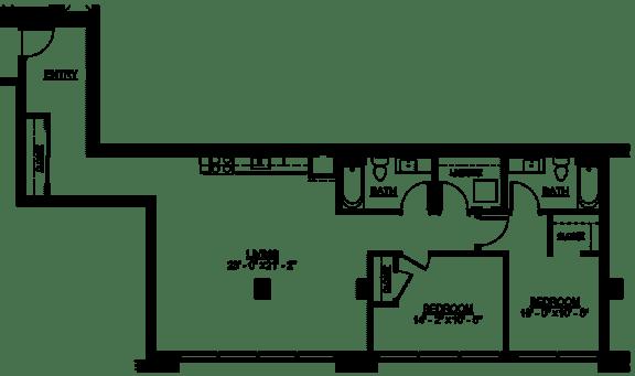 Floor Plan  Riverwest Floor Plan - D12 - 1187 sqft