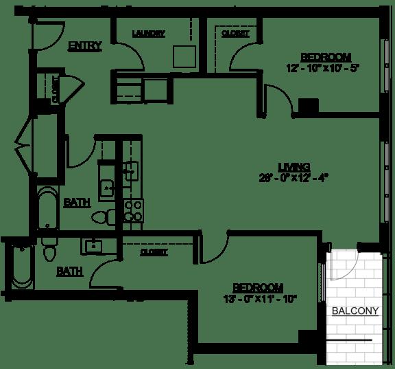 Floor Plan  Riverwest Floor Plan - D13 - 1123 sqft
