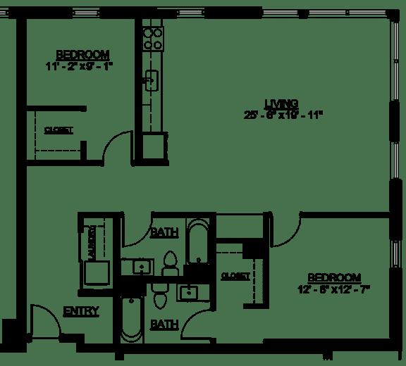 Floor Plan  Riverwest Floor Plan - D1A - 1232 sqft