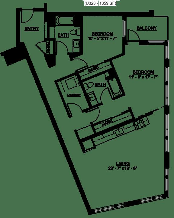 Floor Plan  Riverwest Floor Plan - D2 - 1343 sqft