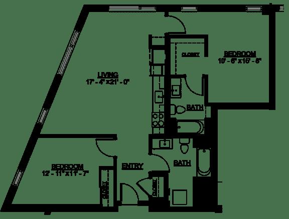 Floor Plan  Riverwest Floor Plan - D3 - 1044 sqft
