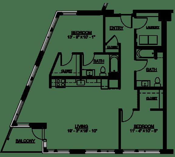 Floor Plan  Riverwest Floor Plan - D4 Type A - 1222 sqft