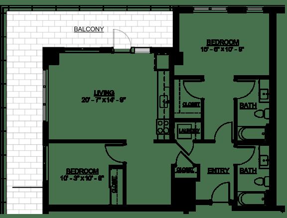 Floor Plan  Riverwest Floor Plan - D6 - 1043 sqft