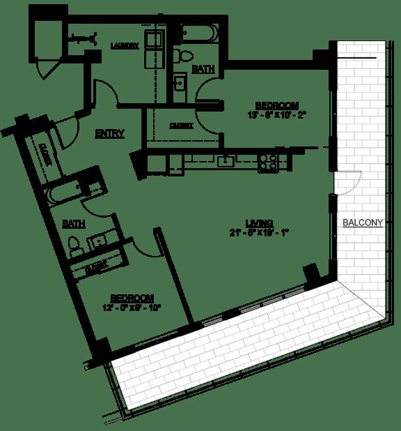 Floor Plan  Riverwest Floor Plan - D8 Type A- 1164 sqft