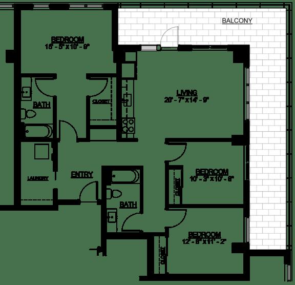 Floor Plan  Riverwest Floor Plan - E1 - 1265 sqft