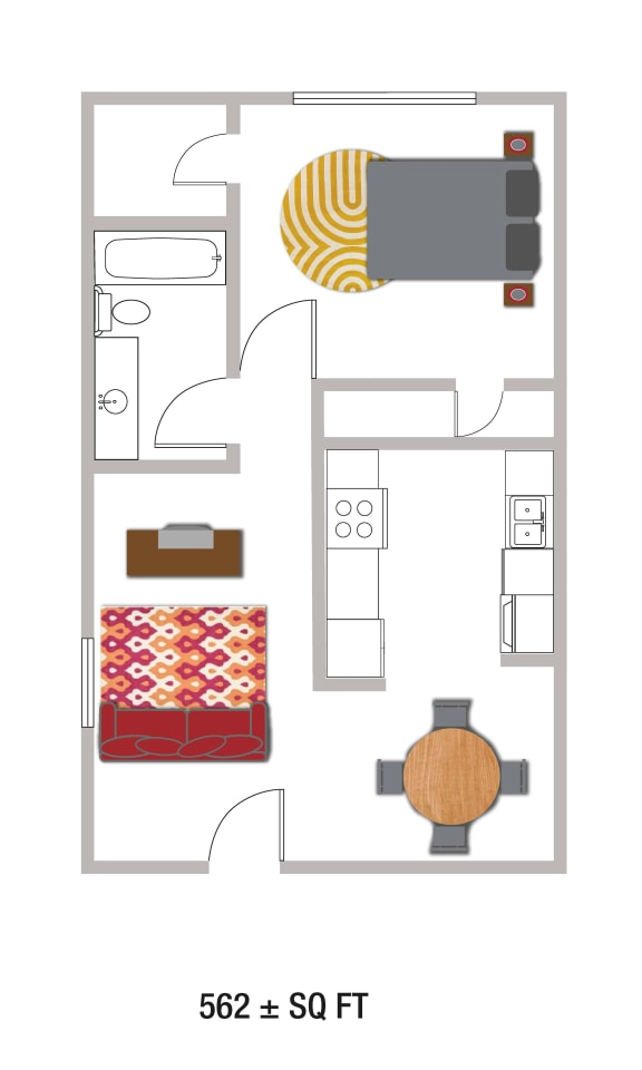 Floor Plan  B1_562Sqft Floor Plan at Volume, Austin, TX, 78722
