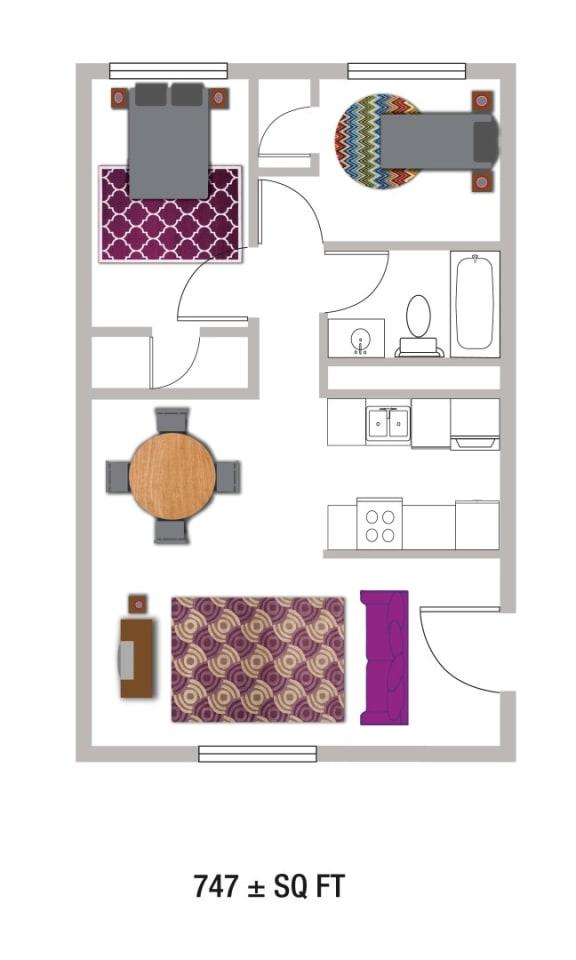 Floor Plan  B2-747Sqft Floor Plan at Volume, Austin, 78722