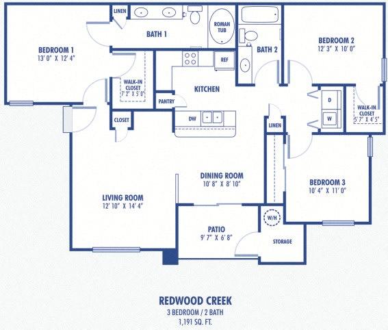 Floor Plan  Redwood Creek 3 Bedroom