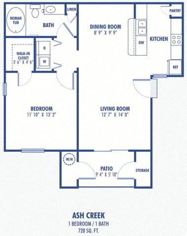 Floor Plan  Ash Creek 1 Bedroom