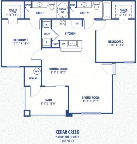 Floor Plan  Cedar Creek 2 Bedroom