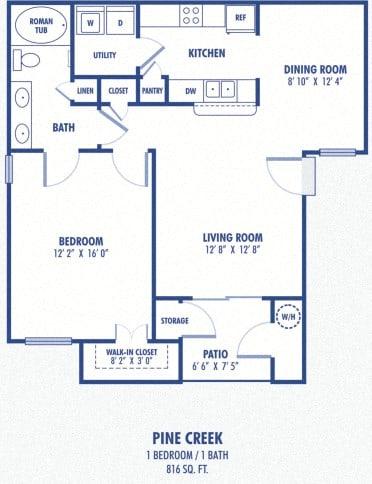 Floor Plan  Pine Creek 1 Bedroom