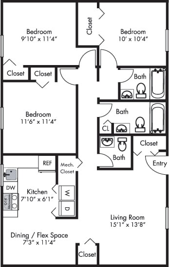 Rockingham Floor plan with Living room, Eat-in Kitchen, Half Bath, 3 Bedrooms and 2 Baths. Furnished Options Available