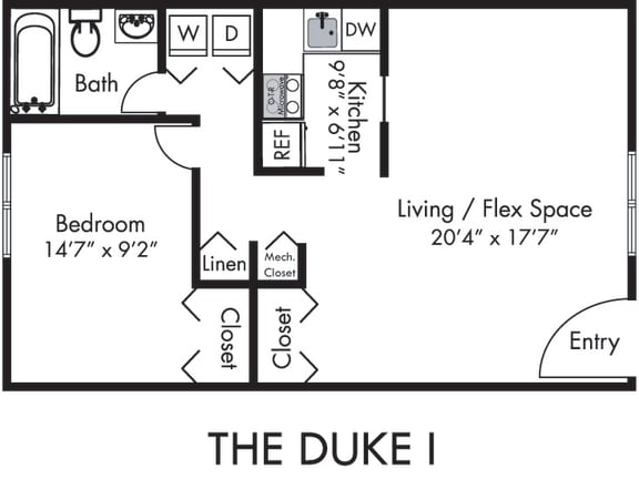 The Duke One with Kitchen, Living Room, Dining Room, 1 Bedroom and 1 Bath with Tub and Shower. Furnished Floorplans Available