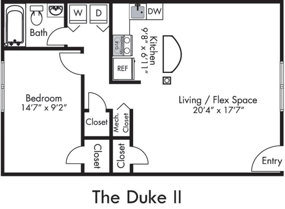 The Duke One with Open Kitchen/Bar top, Living/Dining Flex Space, 1 Bedroom and 1 Bath with Tub and Shower. Furnished Floor plans Available