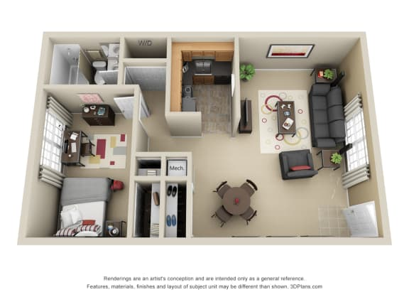 The Duke One with Kitchen, Living/Dining Flex Space, 1 Bedroom and 1 Bath with Tub and Shower. Furnished Floorplans Available