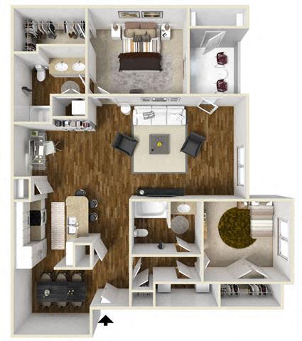 Floor Plan  Two Bedroom W-Study