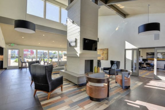 Clubhouse with Wood Inspired Floor, Chairs