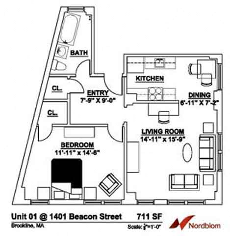 Floor plan at The Regent, Brookline