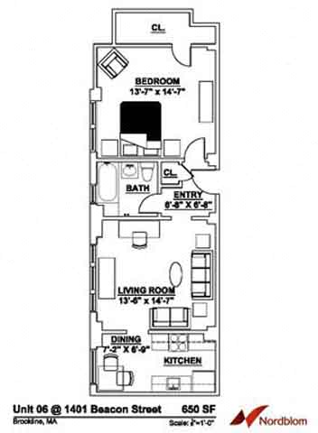 Floor plan at The Regent, Brookline, MA 02446