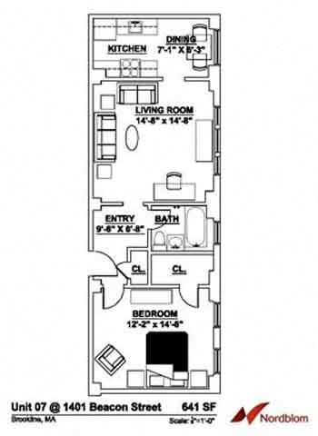 Floor Plan  Floor plan at The Regent, Brookline, 02446