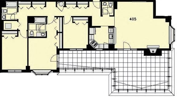 Floor Plan  Penthouse 5 - 3 Bed, 2.5 Baths