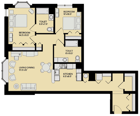 Floor plan at Marion Square, Brookline