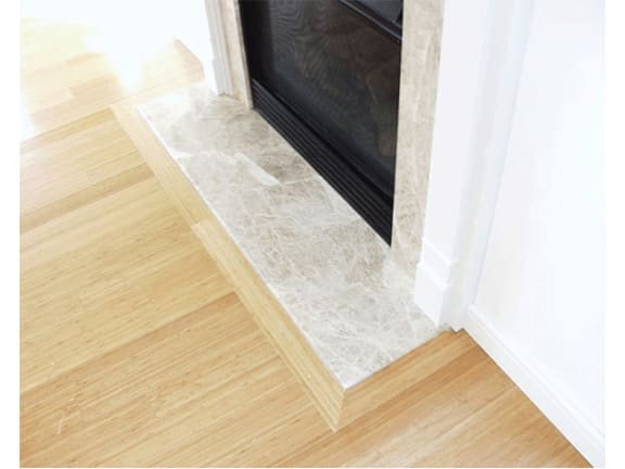 Gas Fireplace with Marble Facing and Hearth with Painted Wood Mantel at Marion Square, Brookline, MA 02446