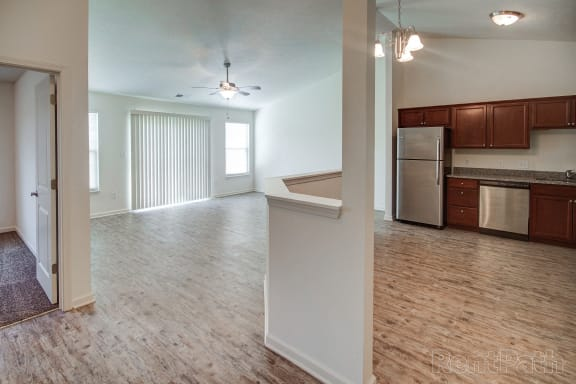 Living Room Come Kitchen View at Hawthorne Properties, Indiana