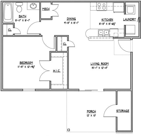 Floor Plan  1 bedroom 1 bathroom Floor Plan at Hawthorne Properties, Lafayette, 47905
