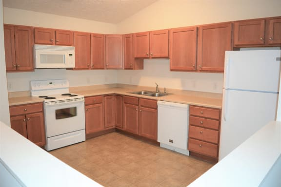 Kitchen from outer half-wall  at Hawthorne Properties, Indiana