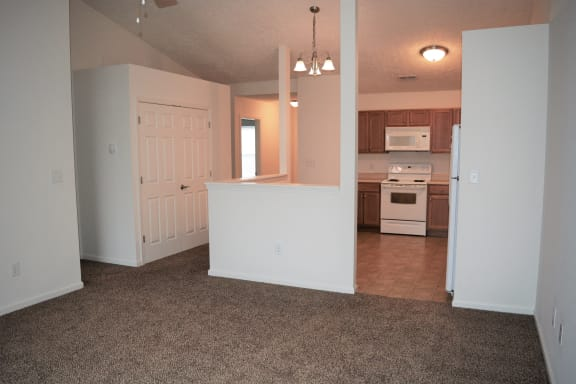 Living Room, looking into Kitchen area at Hawthorne Properties, Lafayette, 47905