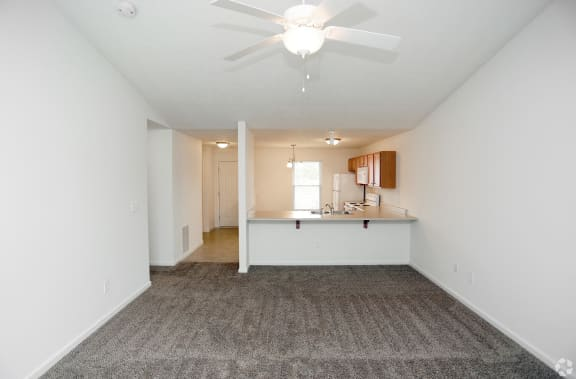 Aspen Living Room Looking into Kitchen at Hawthorne Properties, Indiana, 47905