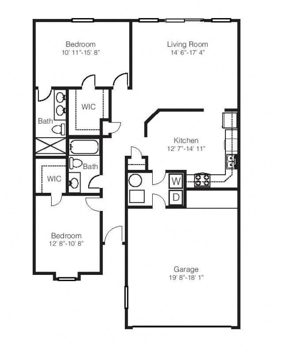 Floor Plan  2 Bed, 2 Bath Floor Plan at Hawthorne Properties, Lafayette, Indiana