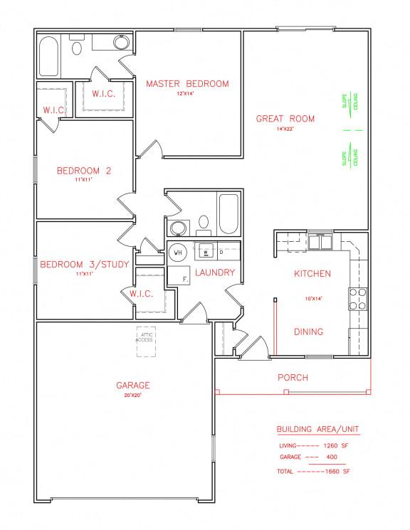 3 bedroom 2 bathroom Floor Plan  at Hawthorne Properties, Lafayette, Indiana