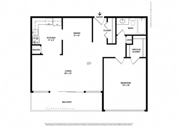 Floor plan at The Aspen, Alexandria, 22305